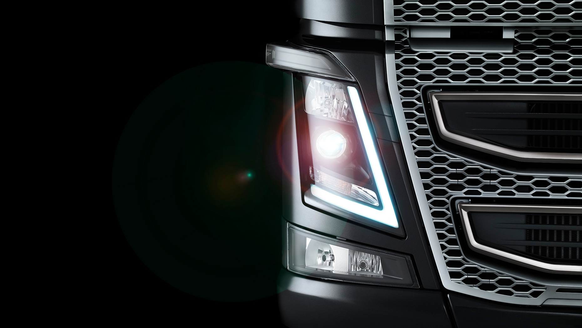 The iconic design of Volvo Trucks' headlights was directly inspired by the look and feel of hard ice.